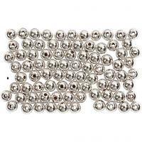 Kralen, d: 4 mm, gatgrootte 0,7 mm, zilver, 150 stuk/ 1 doos