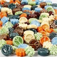 Keramiek kralen, afm 7x15 mm, gatgrootte 2 mm, Inhoud kan variëren , diverse kleuren, 224 stuk/ 1 doos