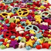 Howlite kralen, afm 4-25 mm, gatgrootte 1,5 mm, Inhoud kan variëren , sterke kleuren, 840 stuk/ 1 doos