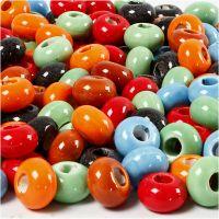 Keramiek links, d: 15 mm, gatgrootte 5,5 mm, Inhoud kan variëren , diverse kleuren, 300 stuk/ 1 doos
