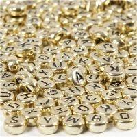 Letterkralen, d: 7 mm, gatgrootte 1,2 mm, goud, 21 gr/ 1 doos