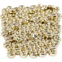 Letterkralen, d: 7 mm, gatgrootte 1,2 mm, goud, 165 gr/ 1 doos