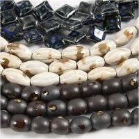 Kralen van klei, L: 12-19 mm, gatgrootte 2 mm, blauw, steen beige, off-white, 99 stuk/ 1 doos