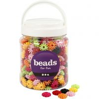 Wielen mix, d: 27 mm, gatgrootte 3 mm, diverse kleuren, 700 ml/ 1 Doosje, 420 gr