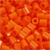 Strijkkralen, afm 5x5 mm, gatgrootte 2,5 mm, medium, helder oranje (32233), 1100 stuk/ 1 doos