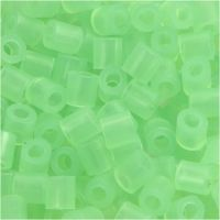 Strijkkralen, afm 5x5 mm, gatgrootte 2,5 mm, medium, neon groen (32237), 6000 stuk/ 1 doos