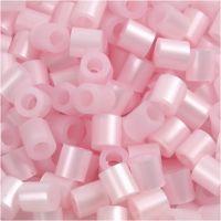 Strijkkralen, afm 5x5 mm, gatgrootte 2,5 mm, medium, roze parelmoer (32259), 1100 stuk/ 1 doos