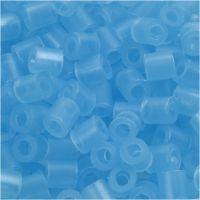 Strijkkralen, afm 5x5 mm, gatgrootte 2,5 mm, medium, neon blauw (32235), 6000 stuk/ 1 doos