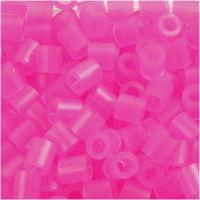 Strijkkralen, afm 5x5 mm, gatgrootte 2,5 mm, medium, roze neon (32257), 1100 stuk/ 1 doos