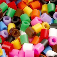 Strijkkralen, afm 5x5 mm, gatgrootte 2,5 mm, medium, standaardkleuren, 5000 div/ 1 emmer