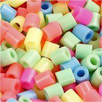 Strijkkralen, afm 5x5 mm, gatgrootte 2,5 mm, medium, pastelkleuren, 5000 div/ 1 emmer