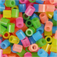 Strijkkralen, afm 5x5 mm, gatgrootte 2,5 mm, medium, neon kleuren, 20000 div/ 1 emmer