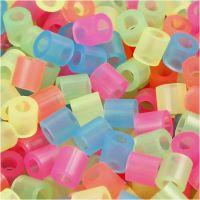 Strijkkralen, afm 5x5 mm, gatgrootte 2,5 mm, medium, neon kleuren, 6000 div/ 1 doos