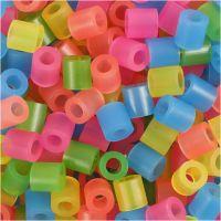 Strijkkralen, afm 5x5 mm, gatgrootte 2,5 mm, medium, neon kleuren, 1100 div/ 1 doos