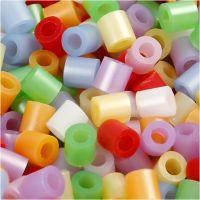 Strijkkralen, afm 5x5 mm, gatgrootte 2,5 mm, medium, parelmoer kleuren, 20000 div/ 1 emmer