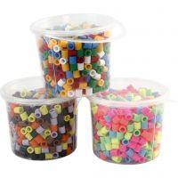 Strijkkralen, afm 10x10 mm, gatgrootte 5,5 mm, JUMBO, diverse kleuren, 3x550 div/ 1 doos