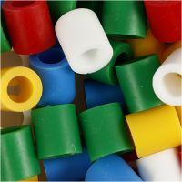 Strijkkralen, afm 10x10 mm, gatgrootte 5,5 mm, JUMBO, standaardkleuren, 550 div/ 1 doos