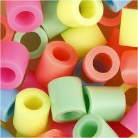 Strijkkralen, afm 10x10 mm, gatgrootte 5,5 mm, JUMBO, pastelkleuren, 2450 div/ 1 emmer
