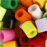 Strijkkralen, afm 10x10 mm, gatgrootte 5,5 mm, JUMBO, extra kleuren, 550 div/ 1 doos