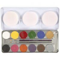 Schmink, diverse kleuren, 12 kleur/ 1 set