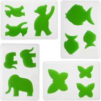 Gietmal, dieren, H: 6+8+10 cm, diepte 9 mm, afm 14,9x22 cm, 4 stuk/ 1 doos