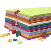 EVA Foam Cijfers & Letters, H: 20 mm, diverse kleuren, 24 div vellen/ 1 doos