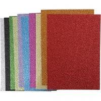 EVA Foam vellen, A4, 210x297 mm, dikte 2 mm, glitter, diverse kleuren, 10 div vellen/ 1 doos