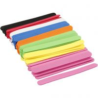 EVA foam ijsstokjes, L: 11,5 cm, B: 1 cm, dikte 2 mm, diverse kleuren, 120 stuk/ 1 doos