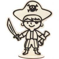 Figuur om te decoreren, piraat, H: 19 cm, 1 stuk
