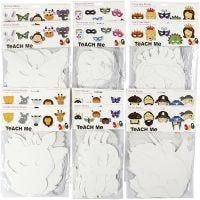 Maskers van karton, H: 15-22 cm, B: 24-25 cm, 230 gr, wit, 192 stuk/ 1 doos
