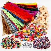 Pret met wasknijpers en chenilledraad, diverse kleuren, 1 set