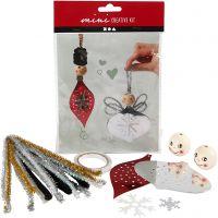 Creative mini kit, uitgestanste figuren voor het maken van hangende decoraties, 1 set