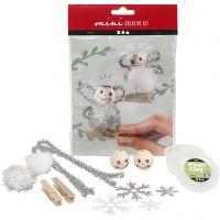 Creative mini kit, engelen op houten knijpers, 1 set