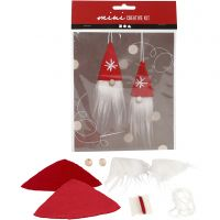 Creative mini kit, hangende kerstkabouter, H: 11 cm, 1 set