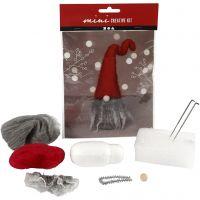 Creative mini kit, kerstkabouter met grijze baard, H: 13 cm, 1 set