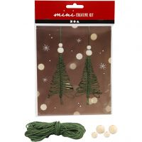 Creative mini kit, macramé kerstboom, H: 11 cm, 2 stuk/ 1 set