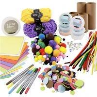 Kits - Figuren gemaakt van kartonnen kokers, vrolijke kleuren, 1 set