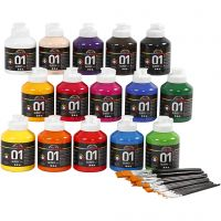 School acrylverf glossy, glossy, diverse kleuren, 1 set