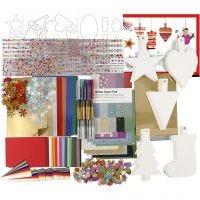Kerst decoratie set, diverse kleuren, 1 set