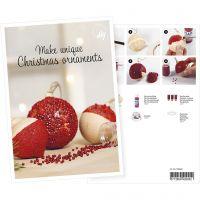 Inspiratiekaart, Kerstballen met mini glazen kralen, A5, 14,8x21 cm, 1 stuk