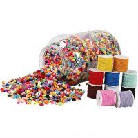 Emmer met plastic kralen & elastiek, 1 set