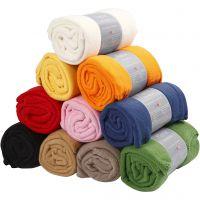 Fleece, L: 125 cm, B: 150 cm, diverse kleuren, 10 stuk/ 1 doos