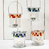 Glazen windlichten met mozaiek
