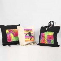 Boodschappentas gedecoreerd met Textile Color, neon