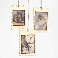 Kleine houten kerstschilderijtjes met découpage
