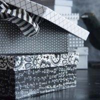Een doos gedecoreerd met Paris Design papier
