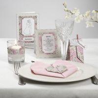Kaartenserie met roze parelmoerkarton en strasstenen
