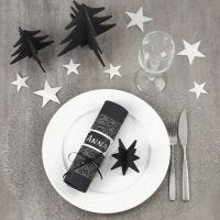 Decoreer een zwart met zilveren kerstafel