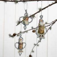 Kerstdecoraties van Chenille draad en een Vintage 3D stans