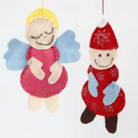 Engel en kerstman gemaakt van vilt met glitter